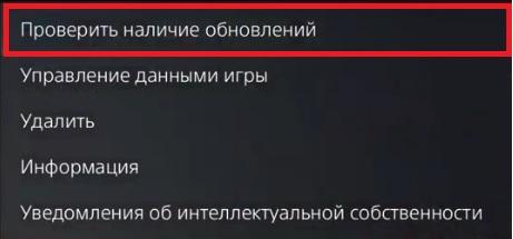 Проверка обновлений для игры - PS5