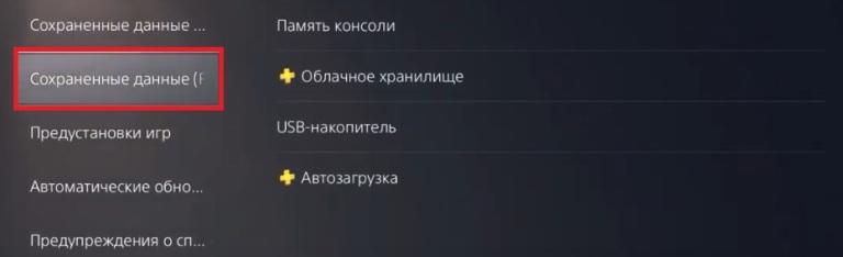 Сохраненные данные PS4