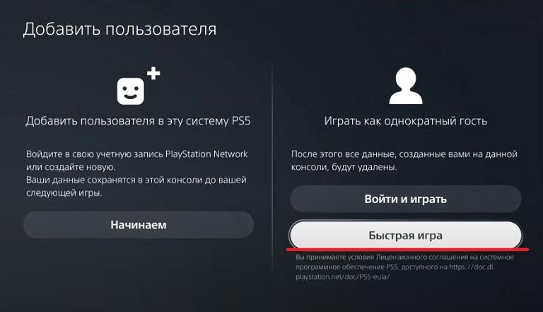 Быстрая игра - PS5